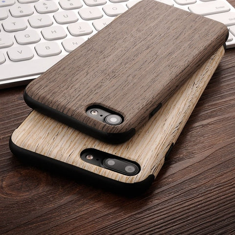 High Quality Soft Silicone Leather Skin Wood Case For iPhone 7 Plus iPhone 7 Case Natural Wooden Back Cover