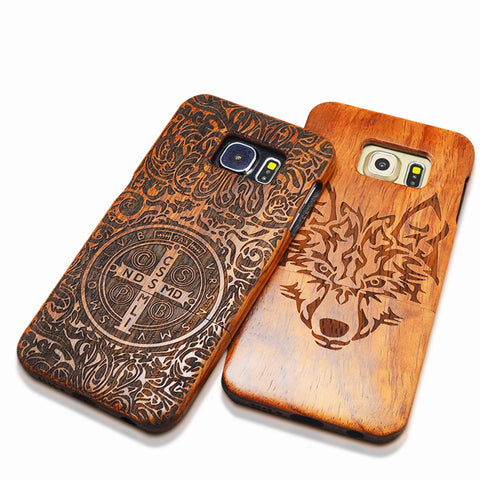 Samsung S6 S7 edge Plus S5 S4 S3 Note 7 5 4 Carving Wooden Funda