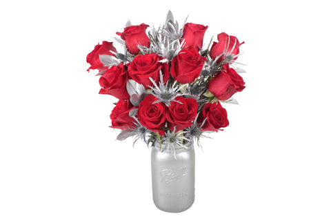 Red Rose and Eryngium Bouquet with Vase