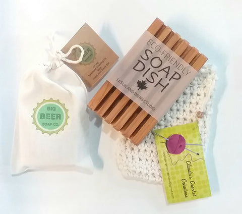 All Natural Beer Soap / Mint/ Gift Bundle With Eco Friendly Soap Dish
