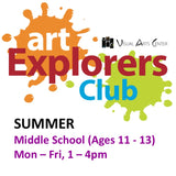 Youth Art: SUMMER CAMP Ages 11-14 (Grades 6-8) 1-4pm