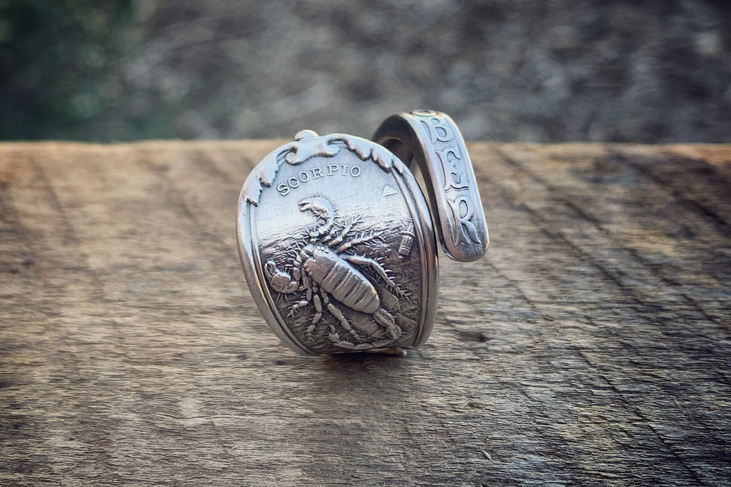 1894 October Zodiac Sterling Spoon Ring