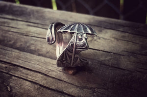 Henry the English Frog Sterling Spoon Ring (Rare)