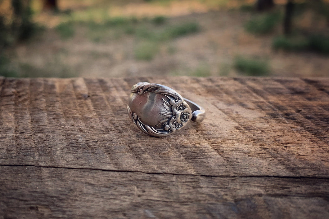 1948 Wild Rose Sterling Spoon Ring