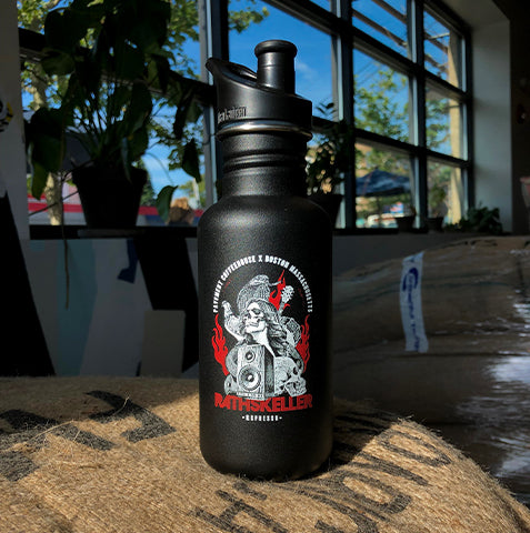 Super attractive 18 oz. black Klean Kanteen water bottle with the popular illustration from Pavement Coffeehouse's Rathskeller Blend