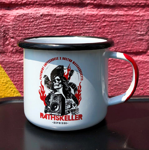 Enamel camping coffee mug with rock and roll illustration