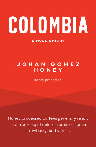 Johan Gomez honey processed coffee from Nariño Colombia roasted in Boston Massachusetts