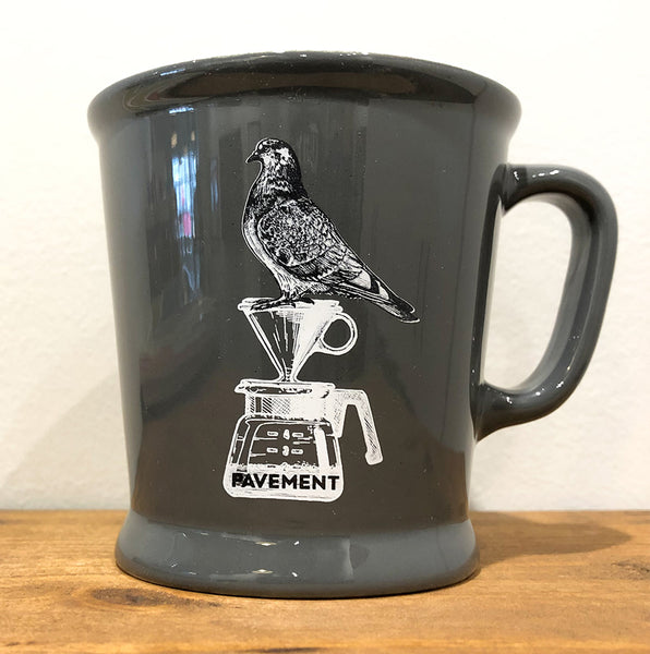 Gray Acme and Co Union Mug with illustration of a pigeon sitting on top of a Hario V60 - Pavement Coffeehouse Boston Massachusetts