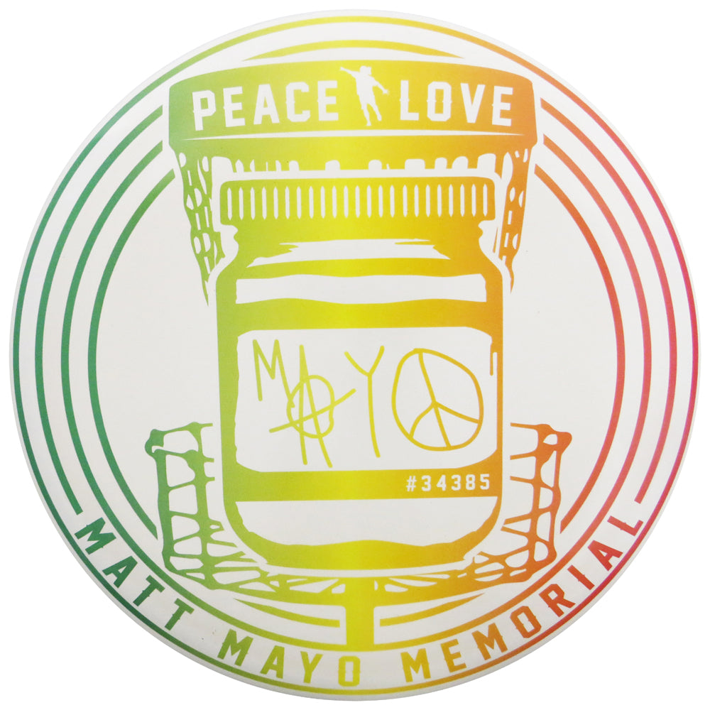 Discraft Limited Edition Matt Mayo Memorial Peace & Love SuperColor ESP Buzzz Midrange Golf Disc - Rasta