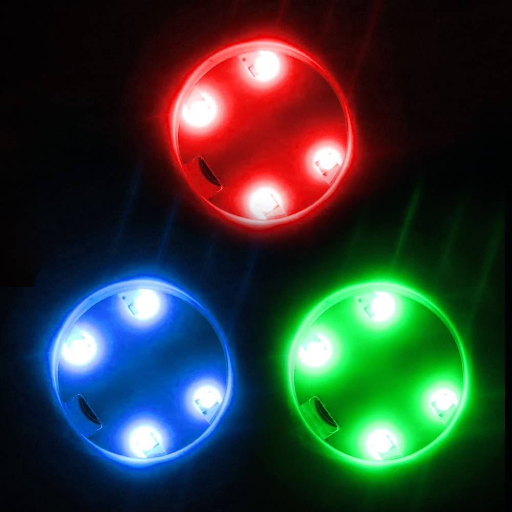 Extreme Glow Adhesive Stick-On 3-Color Accent Light 4 LED Disc & Basket Light