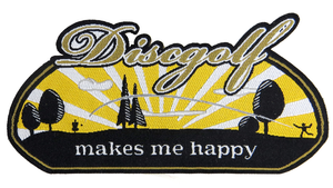 PG Productions Disc Golf Makes Me Happy Iron-On Disc Golf Patch