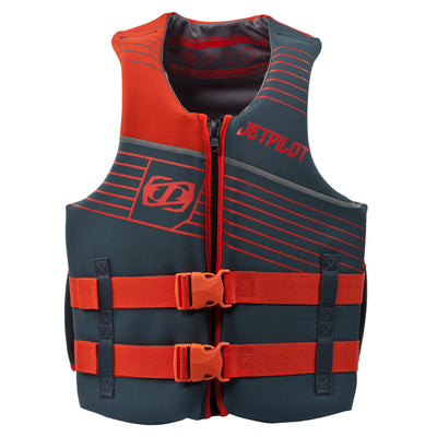 Front view of the Jetpilot Copilot vest in the Burnt Orange colorway.