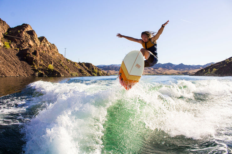 "Dylan Ayala airing off a wake with the Jetpilot Fugu 4'6"" wake surf"