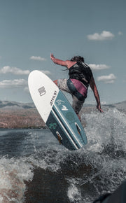 Dylan Ayala airing off a wake with pro model wake surf