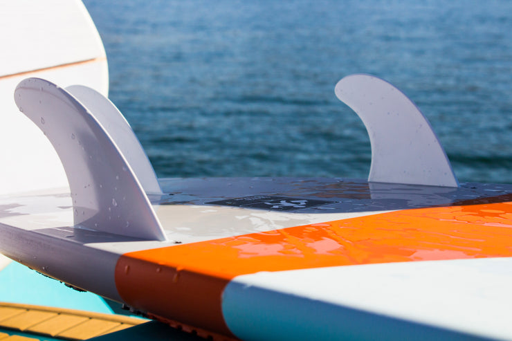 Showing the fin inserts for the Jetpilot's Stoke Broker wake surfboard