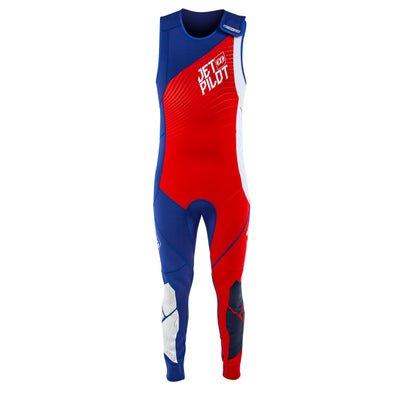 Front view of the Jetpilot Matrix John Wetsuit Red, White, and Blue colorway.
