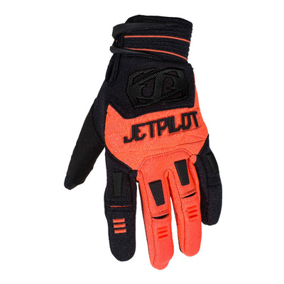 Front view of the Jetpilot Martix Race Full Finger glove Black Orange colorway.