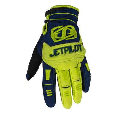 Front view of the Jetpilot Martix Race Full Finger glove Neon Navy colorway.