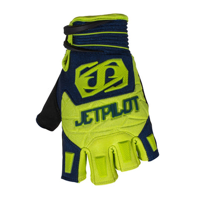 Front view of the Jetpilot Martix Race Short Finger glove Neon Navy colorway.