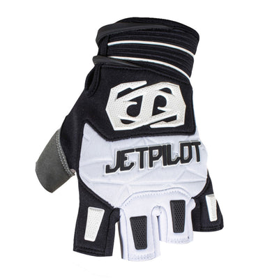 Front view of the Jetpilot Martix Race Short Finger glove Black White colorway.