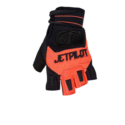 Front view of the Jetpilot Martix Race Short Finger glove Black Orange colorway.