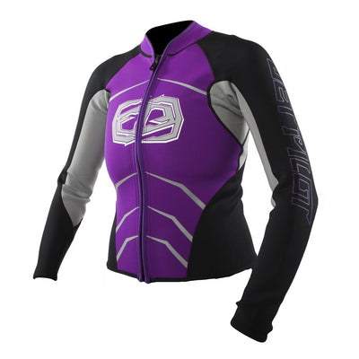 Front view of the Jetpilot Womens Apex Race Jacket purple colorway.
