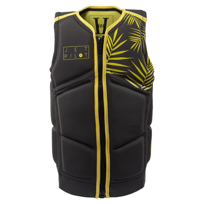 Front view of the Jetpilot Lady Luck Comp vest in the black lime colorway.
