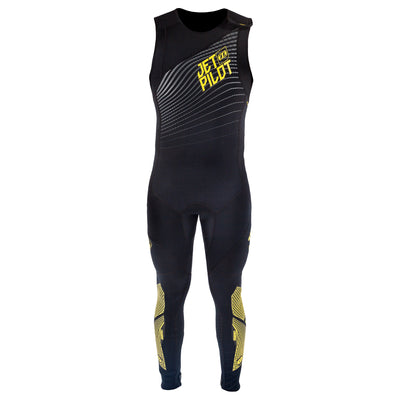 Front view of the Jetpilot Matrix John Wetsuit Black Gold colorway.