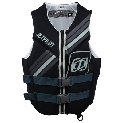 Front view of the Jetpilot Cause life vest black colorway.