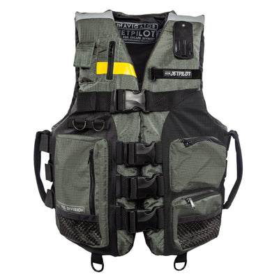 Front view of the Jetpilot L.R.E. Navigator Nylon life vest.