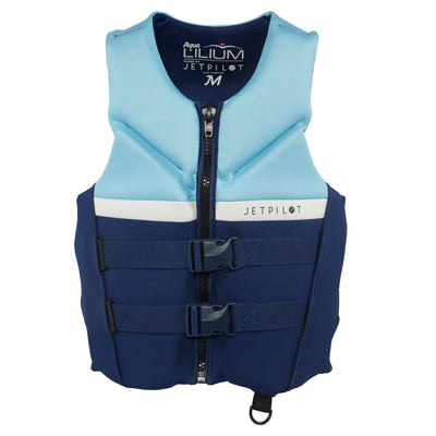Front view of the Jetpilot Aqua Lilium life vest Navy colorway.