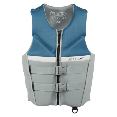Front view of the Jetpilot Aqua Lilium life vest silver colorway.