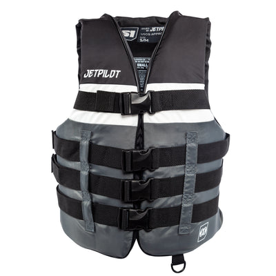 Front view of the Jetpilot S1 Nylon life vest black colorway.