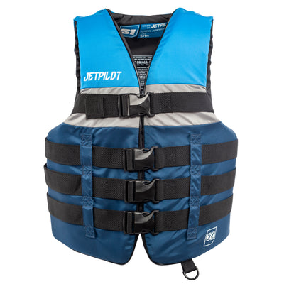 Front view of the Jetpilot S1 Nylon life vest blue colorway.