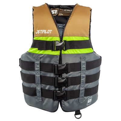 Front view of the Jetpilot S1 Nylon life vest olive colorway.
