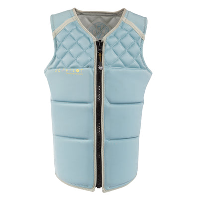 Front view of the Jetpilot Wave Farer Comp Vest Silver Blue colorway.