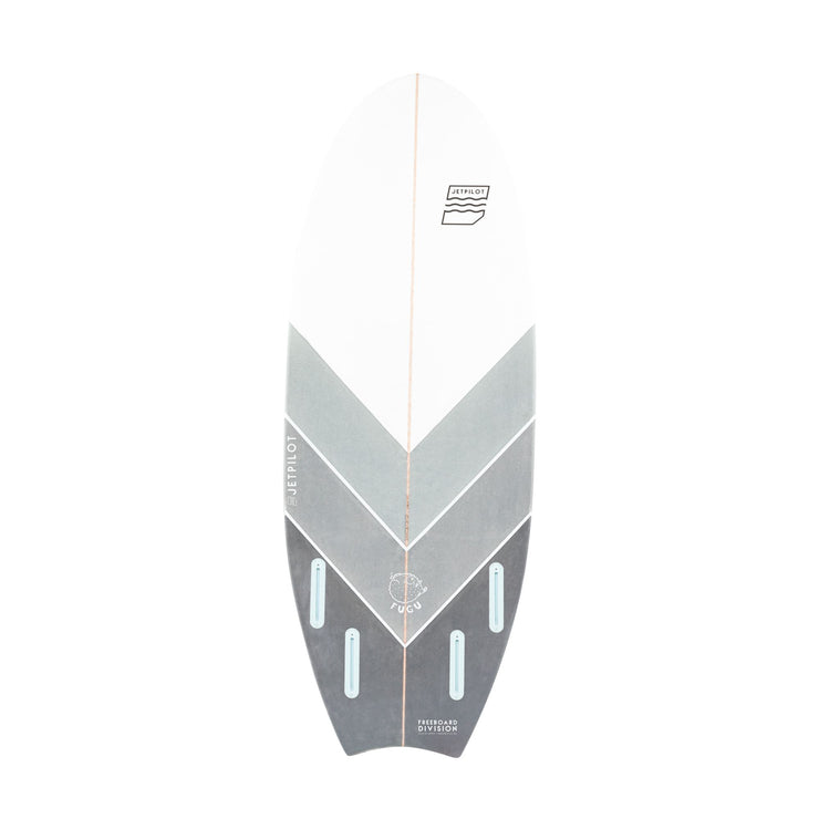 "Bottom of the Jetpilot Fugu 5'2"" wake surfboard"