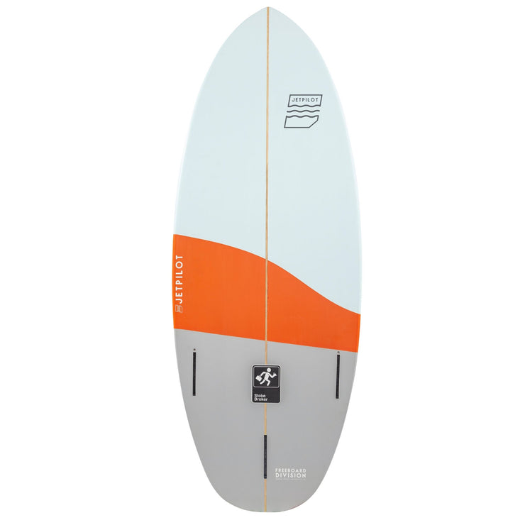 "Bottom of the Jetpilot Stoke Broker 4'7"" wake surfboard"