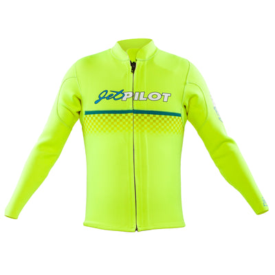 Front view of the Jetpilot Limited Edition Vintage Jacket Neon Green colorway.