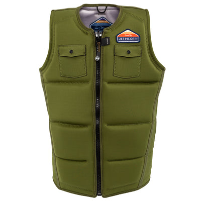 Front view of the Jetpilot's Aaron Rathy Signature Comp Vest Moss colorway front side photo