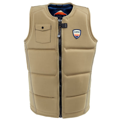 Front view of the Jetpilot's Aaron Rathy Signature Comp Vest Sand colorway front side photo