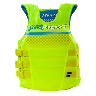 Front view of the Jetpilot Limited Edition Vintage life vest Neon Green colorway.