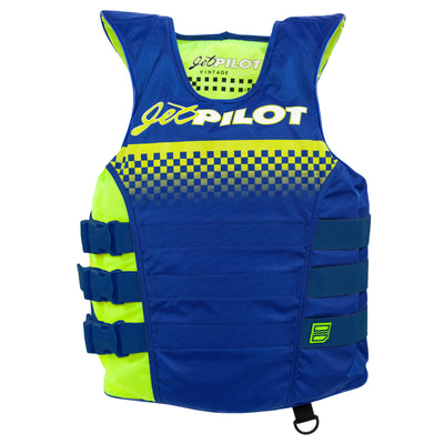 Front view of Navy neon Vintage life vest