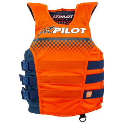 Front view of Orange and Navy Vintage life vest