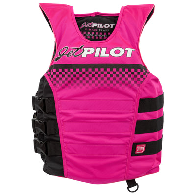 Front view of Pink and Black Vintage life vest