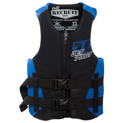 Front view of the Jetpilot Recruit vest black and blue colorway.