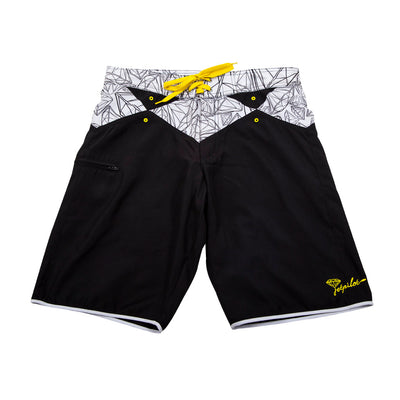 Front view of the Jetpilot Flawless Rideshorts black colorway