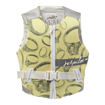 Front view of the Jetpilot Luxe Comp Vest yellow colorway.
