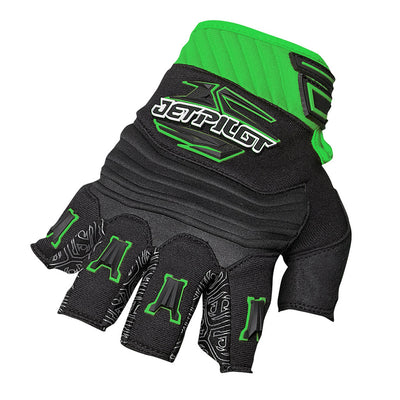 Front view of the Jetpilot Short Finger Glove green and black colorway.
