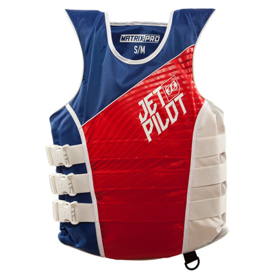 Front view of the Jetpilot Matrix Nylon vest Red, White and Blue colorway.